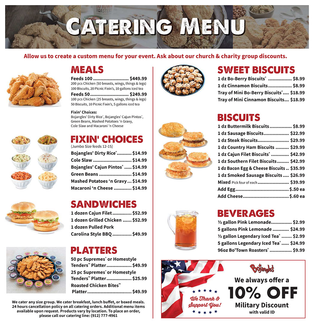 BojoToGo Catering Menu